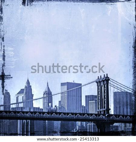 grunge image of manhattan bridge and new york skyline - stock photo
