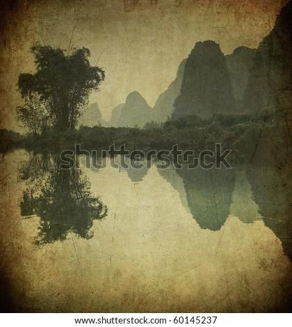 Grunge image of Yulong river, Guangxi province, China - stock photo