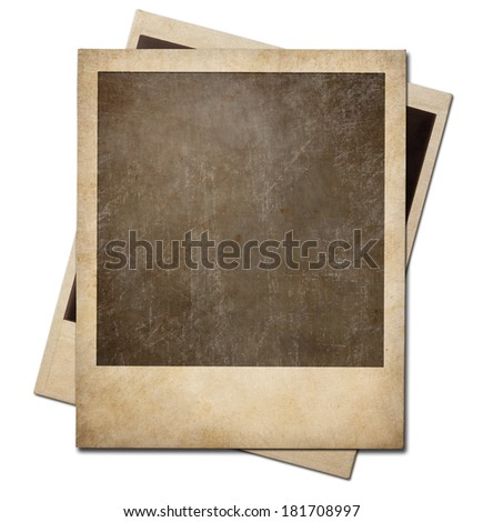 Grunge instant photo polaroid frames isolated. Clipping path without shadows is included. - stock photo
