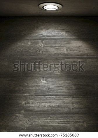 Grunge interior. Empty wooden wall with spot light - stock photo