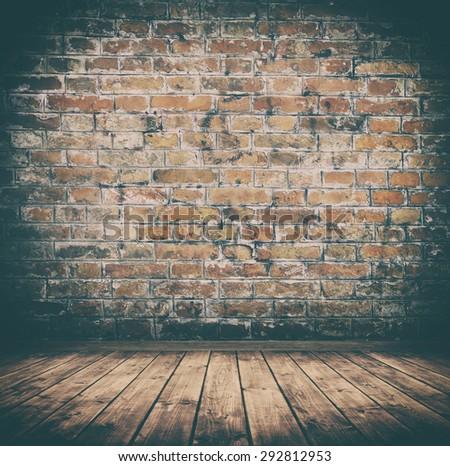 grunge interior room with brickwall. - stock photo