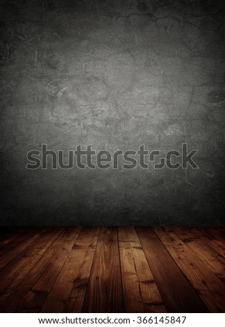 grunge interior room with concrete wall. - stock photo
