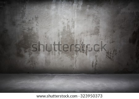 Grunge interior wall and floor - stock photo