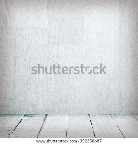 Grunge interior wooden wall and plank floor - stock photo