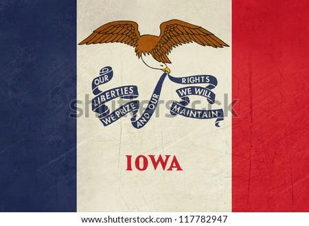 Grunge Iowa state flag of America, isolated on white background. - stock photo