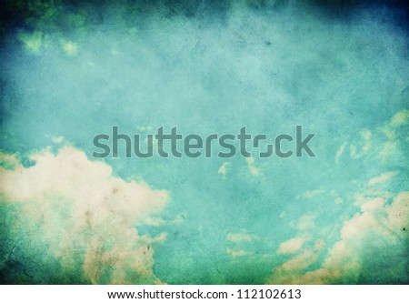Grunge landscape with clouds on old vintage paper - stock photo