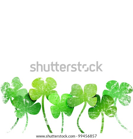 grunge leaf clover on a white background - stock photo