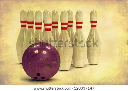 Grunge looking bowling ball and ten bowling pins in alignment - stock photo