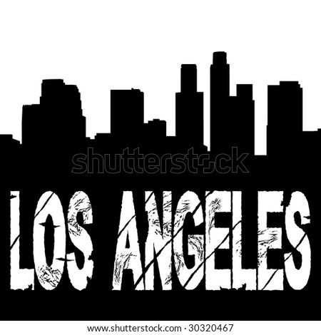 grunge Los Angeles text with skyline illustration JPEG - stock photo