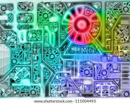 Grunge machine background - stock photo