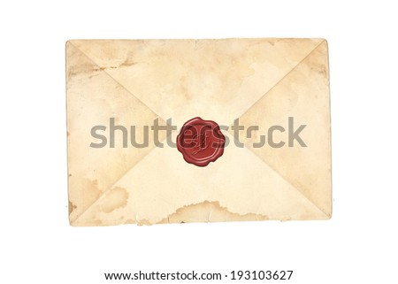 Grunge mail envelope or letter with wax seal isolated on white - stock photo