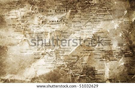 grunge map background - stock photo