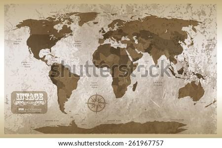 Grunge map background. Illustration - stock photo