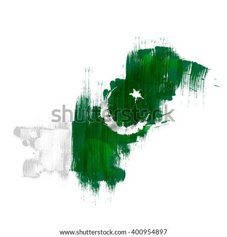Grunge map of Pakistan with Pakistanian flag - stock photo