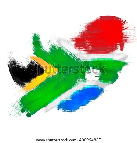 Grunge map of South Africa with South African flag - stock photo