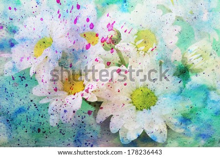 grunge messy artwork with chamomiles and colorful watercolor splatter - stock photo