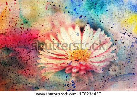 grunge messy artwork with lovely pink flower - stock photo
