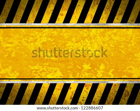 Grunge metal background with black and yellow stripes - stock photo