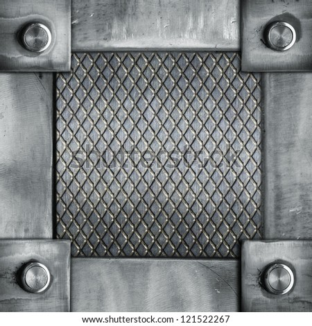 grunge metal  frame with rivets ; abstract industrial  background - stock photo
