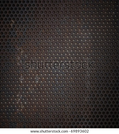 grunge metal grid background - stock photo