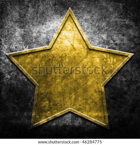 grunge metal star (in yellow and black colors) - stock photo