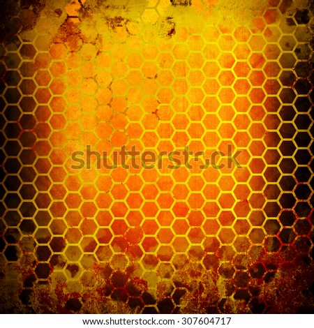 grunge metal with cellular pattern - stock photo