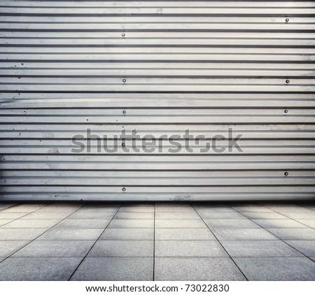 grunge metallic room - stock photo