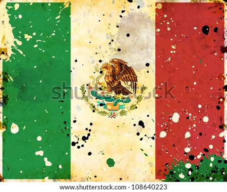 Grunge Mexico flag with stains - flag series - stock photo