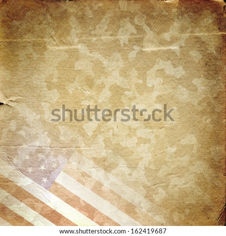 Grunge military background. American flag over desert camouflage pattern - stock photo