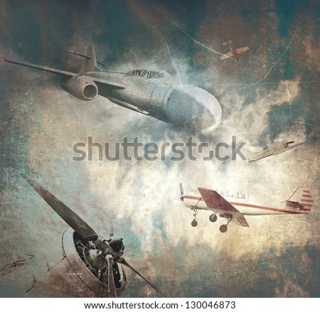 Grunge military background, retro aviation - stock photo