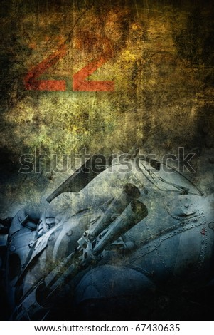 Grunge military helicopter closeup, grunge background - stock photo