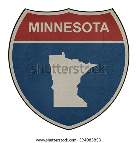 Grunge Minnesota American interstate highway road shield isolated on a white background. - stock photo