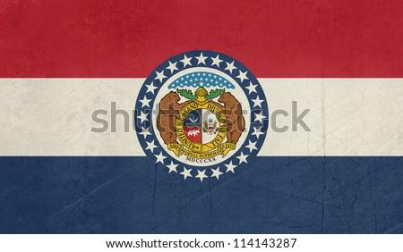 Grunge Missouri state flag of America, isolated on white background. - stock photo