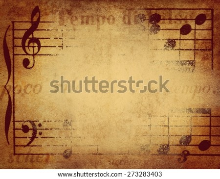 grunge musical background. Retro stale. - stock photo