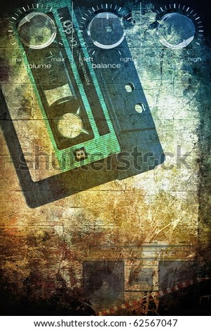 Grunge musical background, underground scratched design, brown color - stock photo