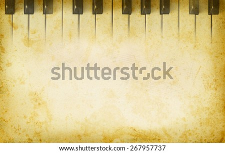 Grunge musical background with music page and the piano keys. Music concept with musical instrument on an old texture background. Piano keys in retro style with copy-space for text at paper texture. - stock photo