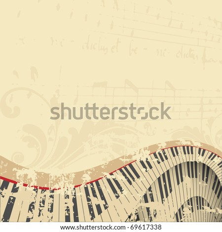 grunge musical background with piano keyboard,  illustration - stock photo
