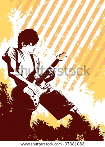 Grunge Musician in orange (JPG); a vector version is also available - stock photo