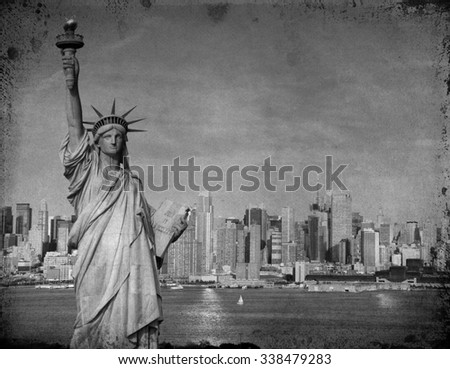 grunge new york city tourism concept with statue liberty - stock photo