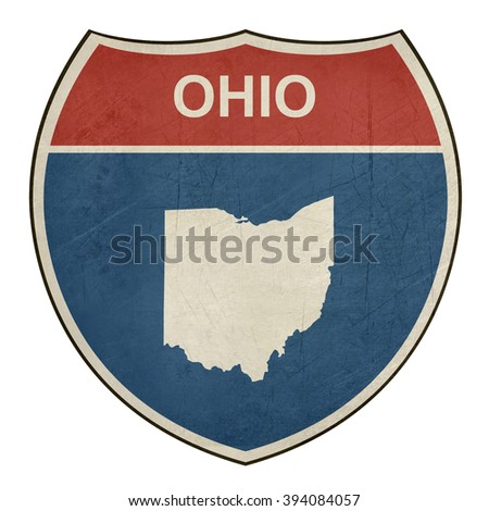 Grunge Ohio American interstate highway road shield isolated on a white background. - stock photo