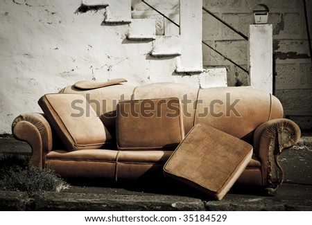 grunge old couch - stock photo