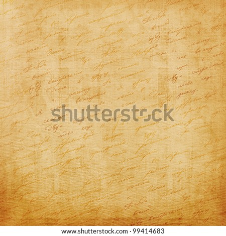Grunge old paper design in scrap booking style with handwriting - stock photo