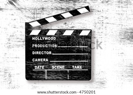 Grunge Old Used Movie Clapper Board on White - stock photo
