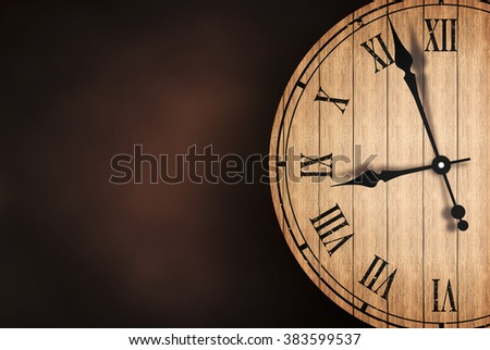 Grunge old vintage clock with brick wall background - stock photo