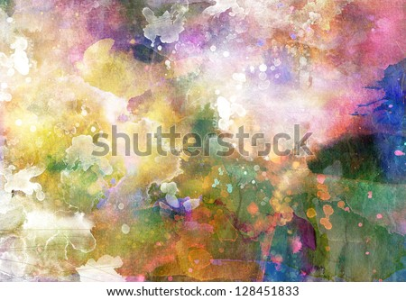 Grunge painting background, colorful illustration - stock photo