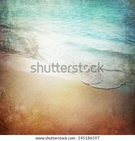 Grunge Paper Beach Background - stock photo