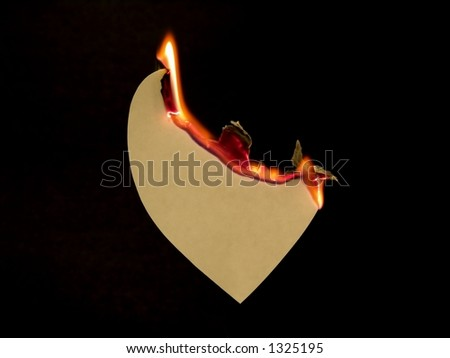 Grunge Paper Heart On Fire - stock photo