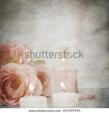Grunge paper with roses - stock photo