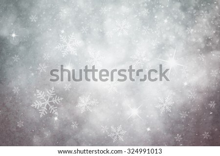Grunge pastel silver color snowflake and sparkle illustration background. Dreamy winter snowfall copy space background.  - stock photo