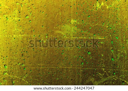 Grunge plaster cement or concrete wall texture green color with scratches - stock photo